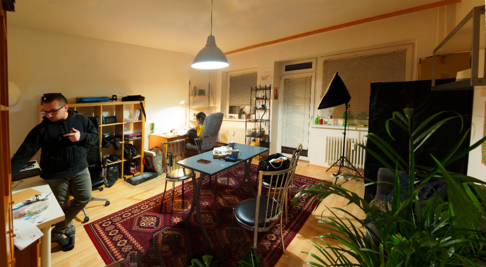 modern nomads at home office in the livingroom